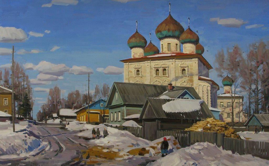 Православный пейзаж. Весна - оттепель. Церковь. Е.Б. Молев