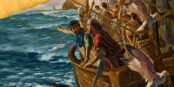 Путешествие апостола Павла на корабле. Море. Буря