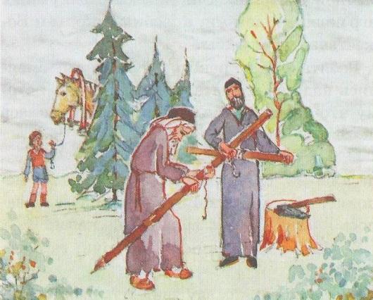 Отец Серафим ставит в лесу крест