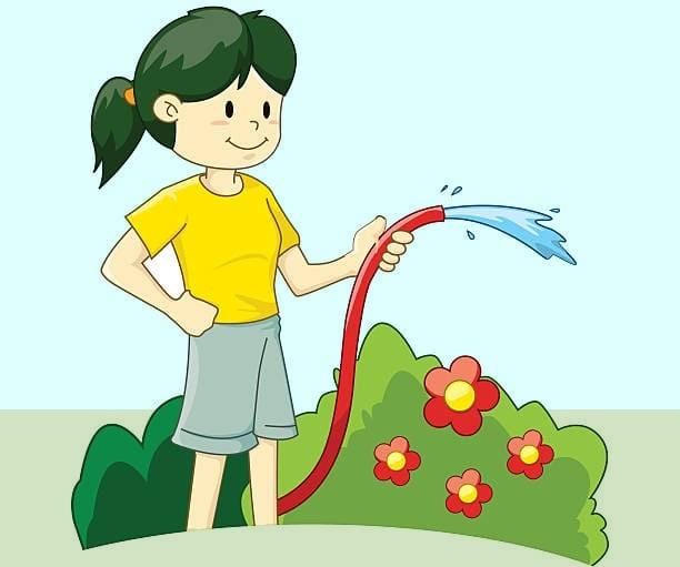 Девочка поливает грядки