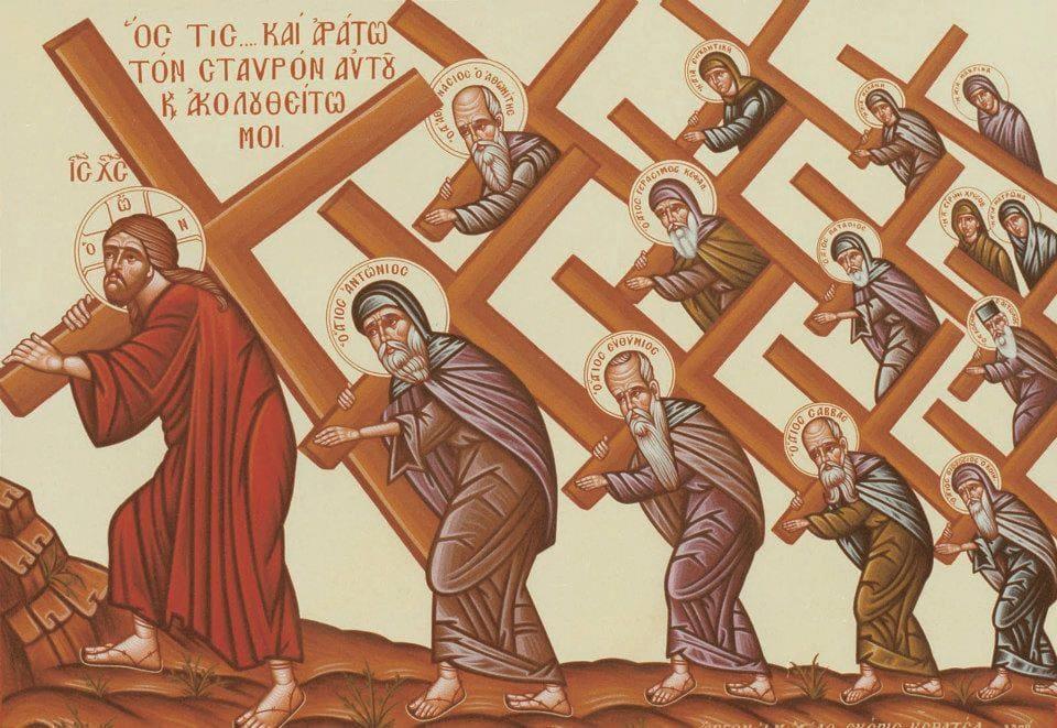 Иисус Христос, идет с крестом. Крест