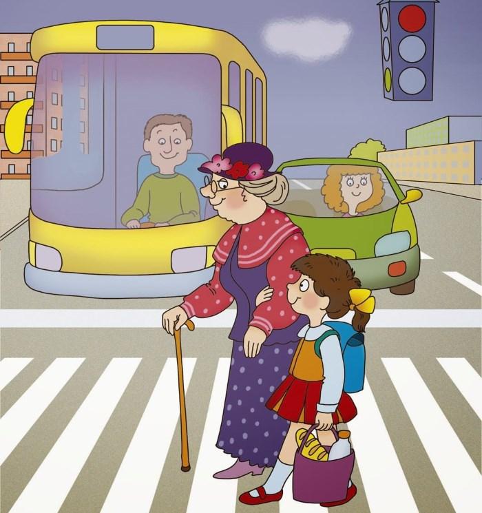Девочка помогает переходить дорогу бабушке