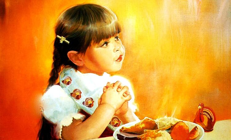 Молитва. Девочка за столом