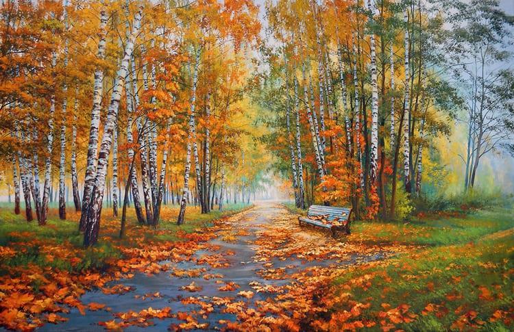 Осень. Пожелтевшие березы
