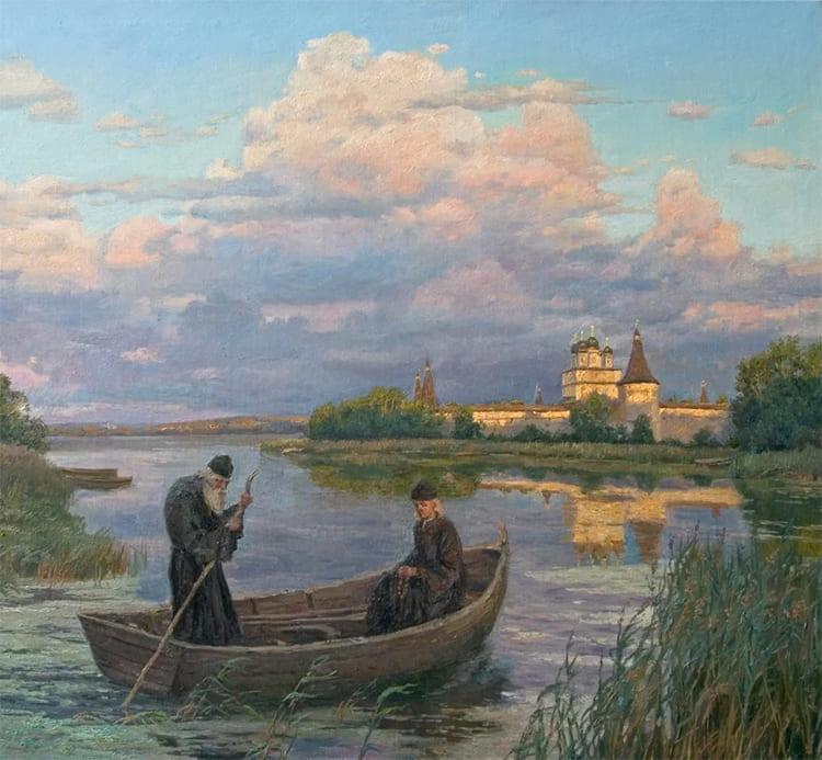 Два монаха в лодке. Плывут по реке
