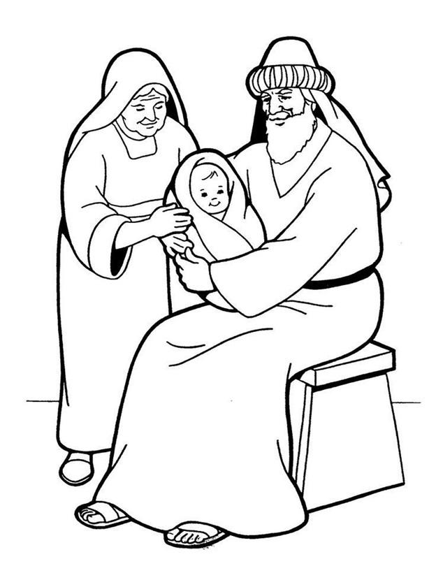 Авраам, Сарра с младенцем сыном. Раскраска