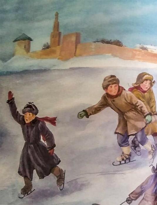 Мальчики играют на снегу
