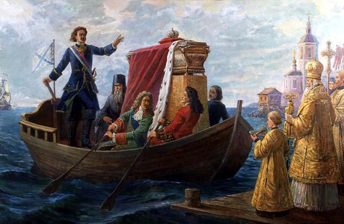 Петр Первый привозит мощи св. Александра Невского в Петербург