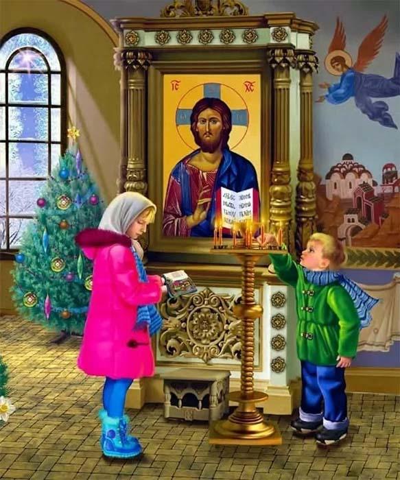 Дети в храме. Елочка