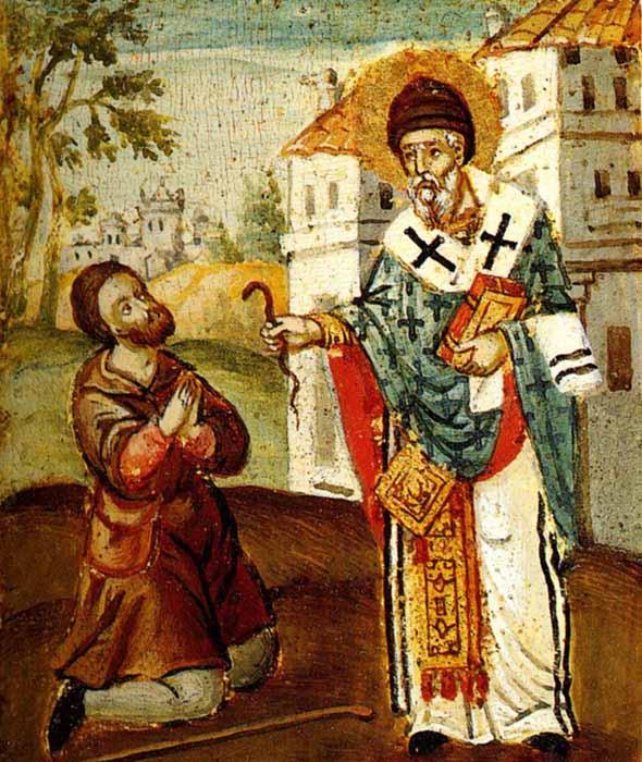 Святитель Спиридон чудесно превращает змия в золото