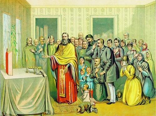 Святой Иоанн Кронштадтский служит молебен