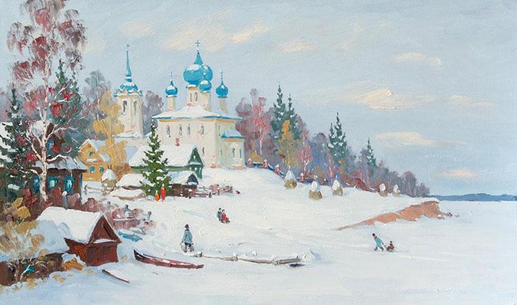 Зимний пейзаж. Храм