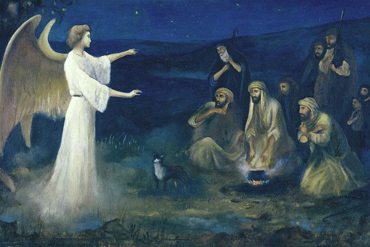 Архангел Гавриил возвещает пастухам о Рождестве