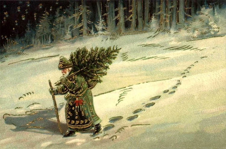 Дед несет елку домой