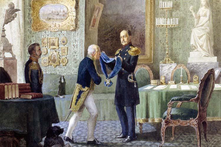Император Николай I награждает Cперанского за составление свода законов