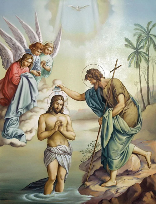 Иоанн Предтеча крестит Иисуса Христа в Иордане