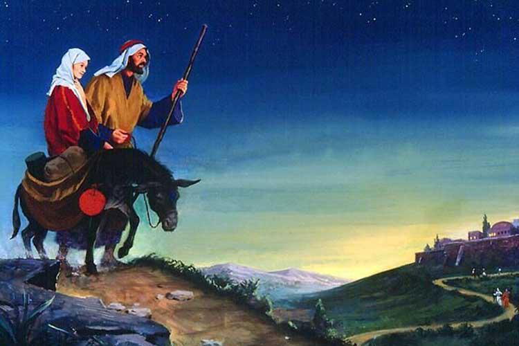 Иосиф и Дева Мария идут в Вифлеем