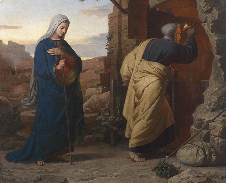 Иосиф с Девой Марией входят в пещеру