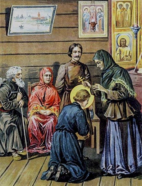 Мать благословляет Серафима Саровского