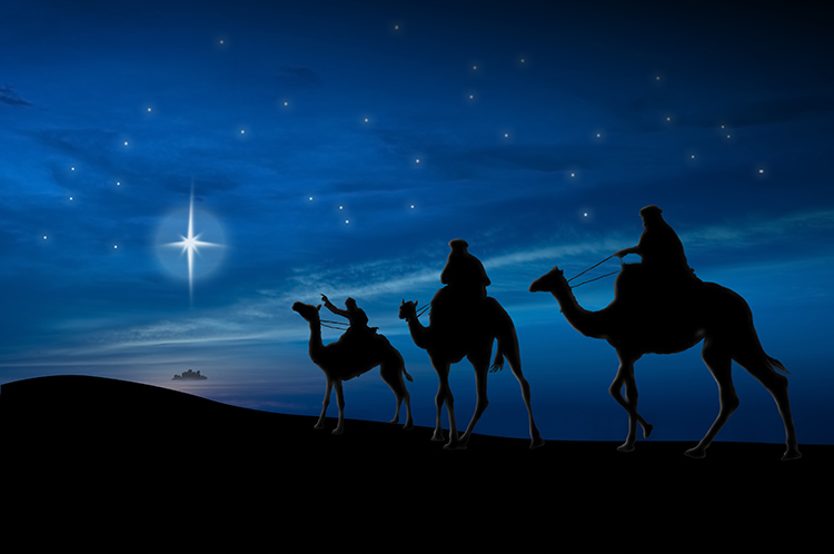 Волхвы путешествуют со звездой на верблюдах
