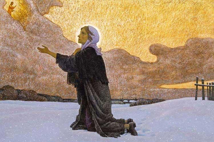 Ксения Петербургская на коленопреклоненной молитве