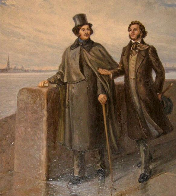 Гоголь и Пушкин на набережной Невы