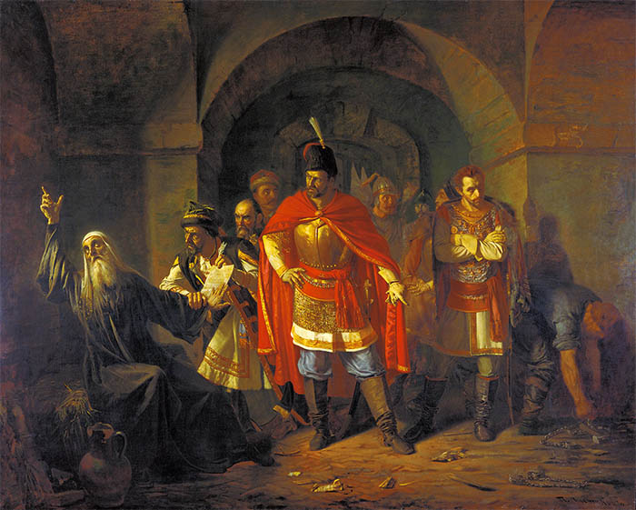 Патриарх Гермоген в темнице отказывается подписать грамоту поляков