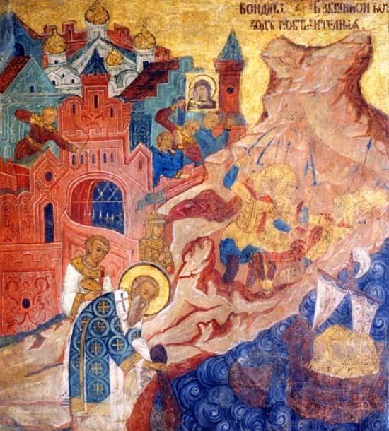 Чудесное спасение Константинополя при помощи Ризы Богоматери