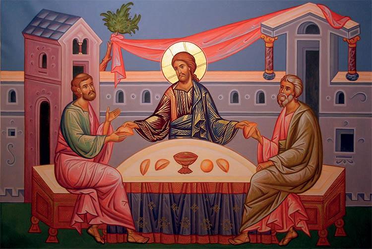 Христос с Лукой и Клеопой в Эммаусе