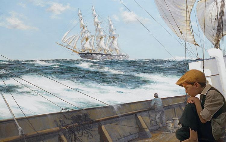 Мальчик на палубе корабля