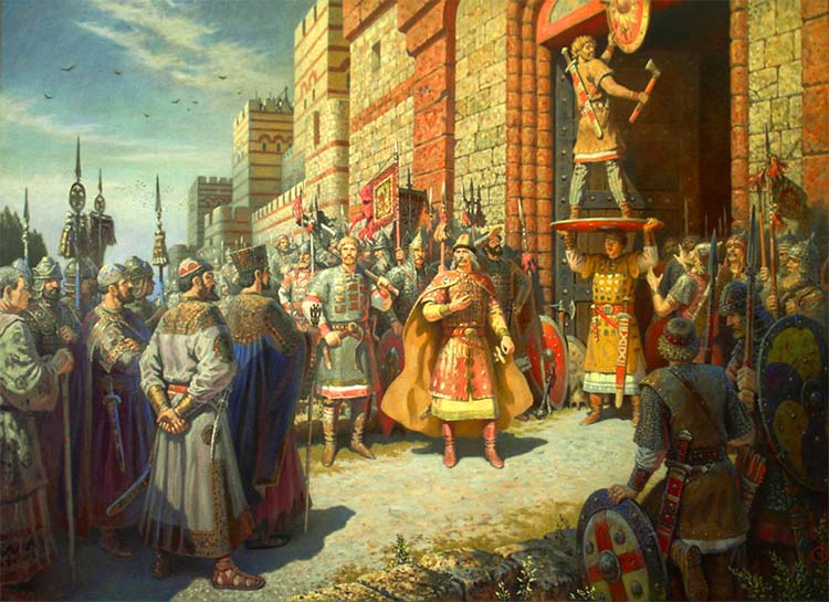 Прибивает щит к вратам Царьграда