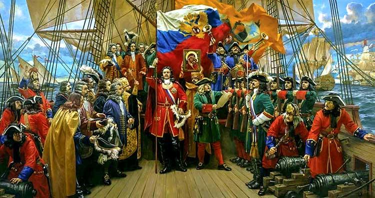 Российский флаг на корабле