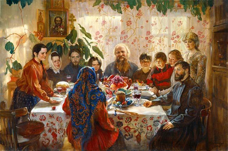 Семья за пасхальным столом