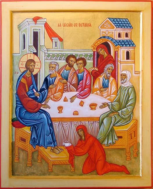 Женщина помазала Иисуса драгоценным маслом