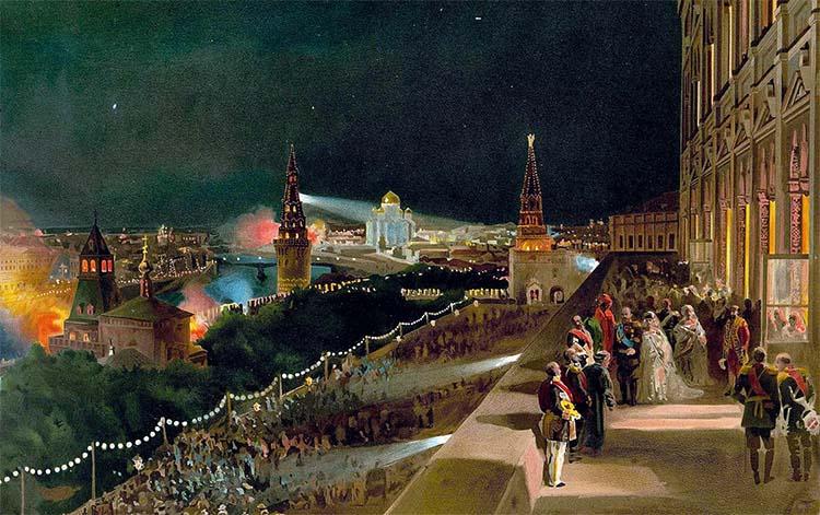 Иллюминация Москвы по случаю коронации