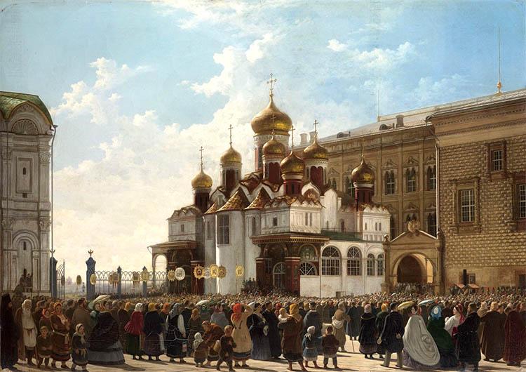 Крестный ход у Благовещенского собора в Московском Кремле