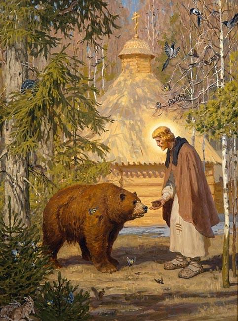 Преподобный Сергий Радонежский и бурый медведь