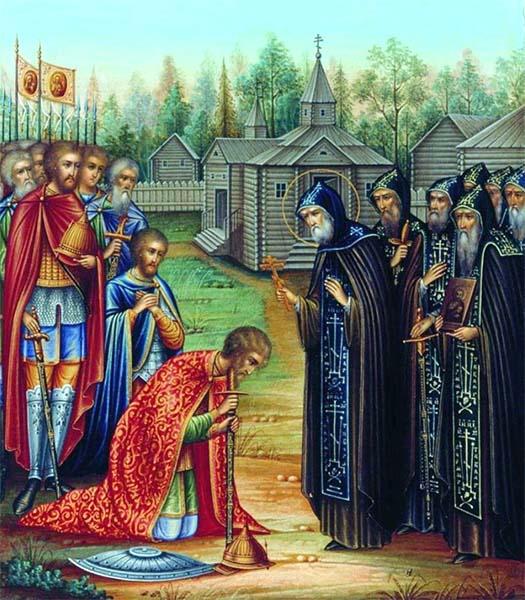 Святой Сергий Радонежский благословляет князя Димитрия Донского на Куликовскую битву