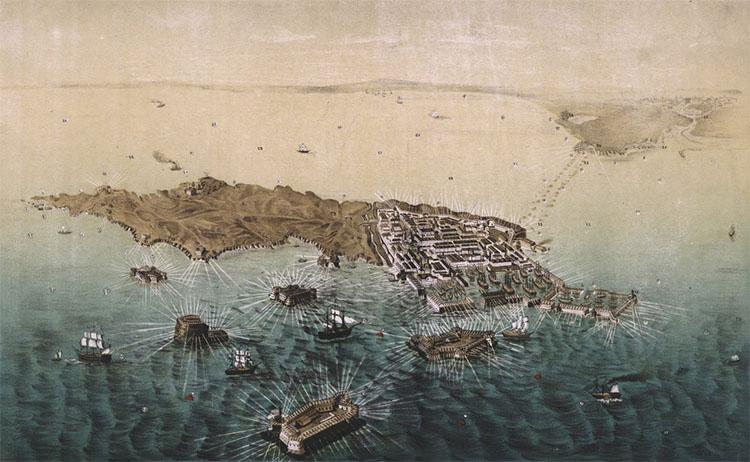 Вид острова и укреплений