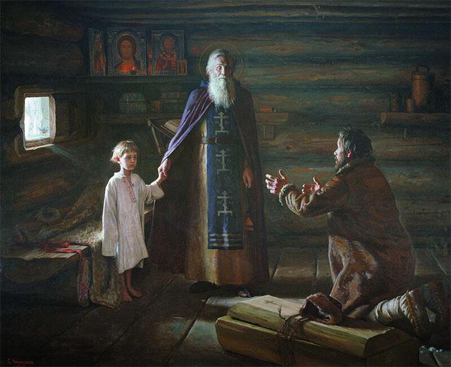 Воскрешение отрока преподобным Сергием Радонежским