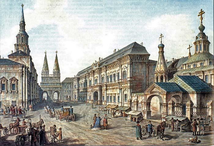 Здание Московского университета у Воскресенских ворот на Красной площади