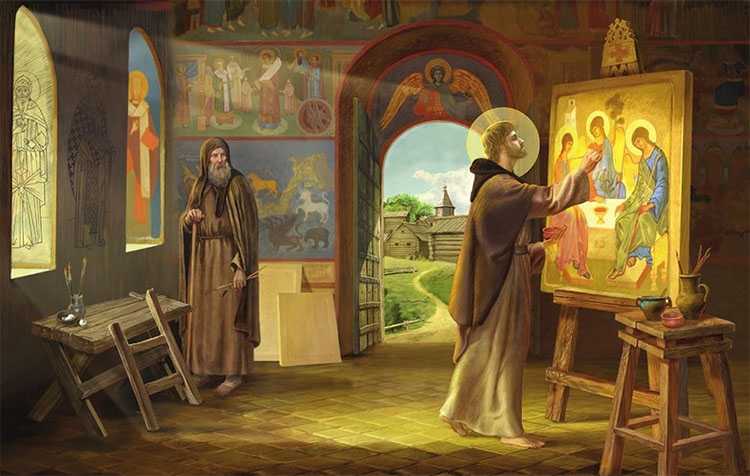 Андрей Рублев пишет икону Святой Троицы