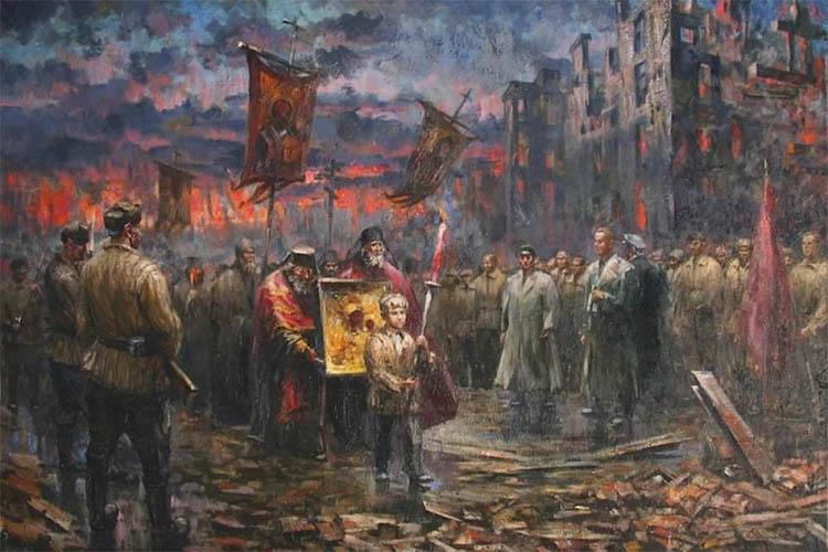 Благословение советских войск иконой Казанской Божьей Матери в Сталинграде