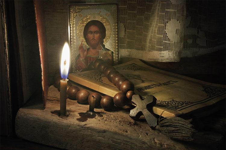 Икона, свеча, молитвослов