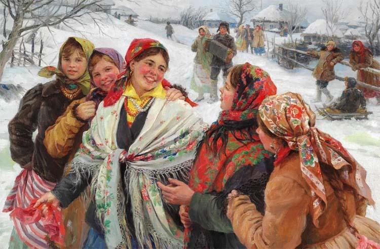 Люди смеются в деревне