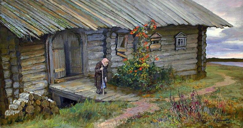 Старушка около дома