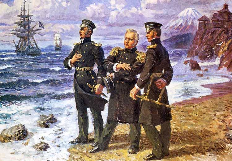 Капитан 2 ранга Лазарев с мичманами Нахимовым и Путятиным