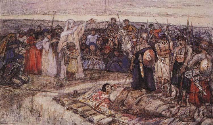 Княгиня Ольга встречает тело князя Игоря