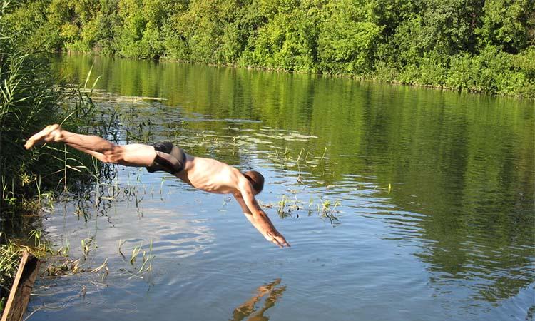 Ныряет в реку