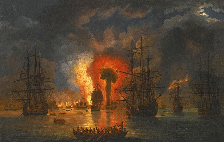 Подрыв турецкого линейного корабля брандером Ильина